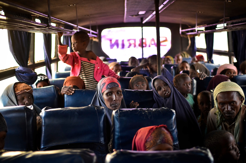 Refugees fleeing drought, famine and a civil war in Somalia ride a bus to Dagahaley camp in Dadaab, Kenya. According to the United Nations, 3.7 million Somalis are in crisis.