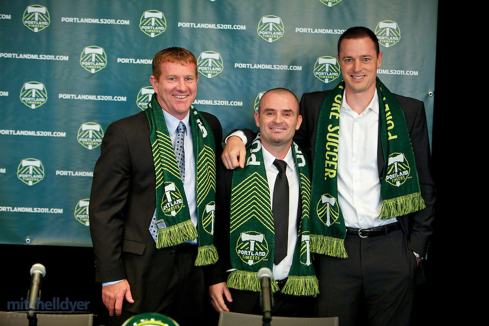 Technical Director Gavin Wilkinson and Owner Merrit Paulson at a Press Conference to announce new Timbers MLS head coach John Spencer. Photo by Portland Oregon Photographer Craig Mitchelldyer www.craigmitchelldyer.com 503.513.0550