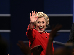 HEMPSTEAD, Sept. 27, 2016 (Xinhua) -- Democrat Hillary Clinton greets the audience after attending the first presidential debate with Republican Donald Trump at Hofstra University in Hempstead of New York, the United States, Sept. 26, 2016. Hillary Clinton and Donald Trump on Monday held their first presidential debate in Hempstead. (Xinhua/Qin Lang) (zw) (Credit Image: © Qin Lang/Xinhua via ZUMA Wire)