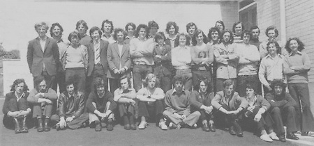 Nenagh CBSLC Class 1973, front (kneeling), James Hogan, Michael Mulqueen, Bary O'Riordan, Brian Chadwick, Frank Fitzhenry, Denis Meehan, John Hackett, Martin Quigley, Pat Kelly, Plunket Mallon, Ger Curtin, second row, Jim Ryan, Derry Hassey, Enda Bourke, John Sherlock, Tomas Shoer, Con Carey, John Ryan, J J Flannery, Denis Darcy, Michael Brophy, John Mackey, Michael Darcy, David Moynan, Joe Sherlock, back row, John Healy, Wm A (Bill) Dooley, Nial O'Meara, Joseph Ryan, John Ryan, John Kennedy, Michael Gleeson, Tony McCarthy, Robert Lewis and Donal Hegarty ( pics by W JH)