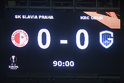 February 14, 2019 - Prague, CZECH REPUBLIC - Illustration picture shows the scoreboard after a soccer game between Czech club SK Slavia Praha and Belgian team KRC Genk, the first leg of the 1/16 finals (round of 32) in the Europa League competition, Thursday 14 February 2019 in Prague, Czech Republic. BELGA PHOTO YORICK JANSENS (Credit Image: © Yorick Jansens/Belga via ZUMA Press)