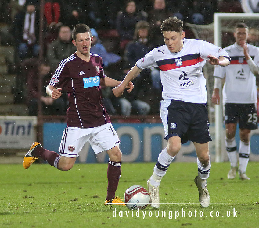 Dundee's Nicky Riley  and Hearts' Jason Holt  - Hearts v Dundee in the Clydesdale Bank, Scottish Premier League at Tynecastle.. - © David Young - www.davidyoungphoto.co.uk - email: davidyoungphoto@gmail.com