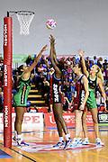 Tactix player Mwai Kumwenda during their ANZ Championship Netball game between the Mainland Tactix v West Coast Fever. Marlborough Lines Stadium 2000, Blenheim, New Zealand. Sunday 12 April 2015. Copyright Photo: Chris Symes / www.photosport.co.nz