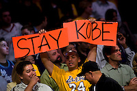 "30 October 2007: A Los Angeles Lakers fan hold up a sign that reads, ""Stay Kobe"" while the Lakers play the Houston Rockets during the Rockets 95-93 victory over the Lakers at the STAPLES Center in Los Angeles, CA."