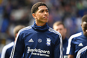 16 year old Birmingham City midfielder Jude Bellingham 22) takes his place on the bench during the EFL Sky Bet Championship match between Birmingham City and Stoke City at the Trillion Trophy Stadium, Birmingham, England on 31 August 2019.