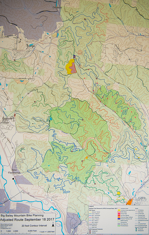 Map of 88 miles of mountain biking trails proposed for the Wayne National Forest. ©Ohio University/Photo by Ben Siegel