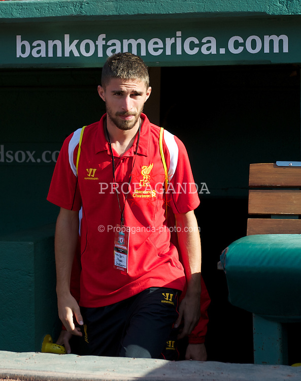 BOSTON, MA - Wednesday, July 25, 2012: Liverpool's new signing Fabio Borini before a pre-season friendly match against AS Roma at Fenway Park, home of the Boston Red Sox, the second match of the Reds' North American tour. (Pic by David Rawcliffe/Propaganda)