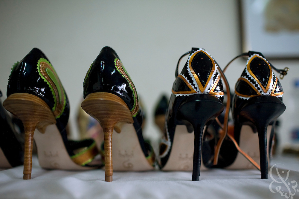 A Nigerian fashion designer's shoes sit ready for action during the ThisDay festival July 13, 2008 in Lagos, Nigeria. The annual music and fashion festival is designed to raise awareness of African issues while promoting positive images of Africa using music, fashion and culture in a series of concerts and events in Nigeria, the United States and the United Kingdom. .