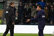 Chris Van Der Weerden with Phillip Cocu during the EFL Sky Bet Championship match between Derby County and Sheffield Wednesday at the Pride Park, Derby, England on 11 December 2019.