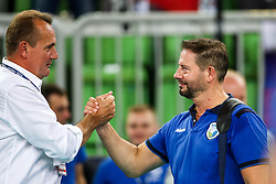 Metod Ropret, president of OZS and Alberto Giuliani, head coach of Slovenia celebrate during volleyball match between National teams of Slovenia and Poland in semifinal of 2019 CEV Volleyball Men's European Championship in Ljubljana, on September 26, 2019 in Arena Stozice. Ljubljana, Slovenia. Photo by Matic Klansek Velej / Sportida