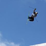 Kai Mahler, Switzerland, in action during the Freeski Slopestyle Men's Final at Snow Park, New Zealand during the Winter Games. Wanaka, New Zealand, 18th August 2011. Photo Tim Clayton