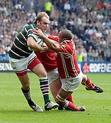 Leicester, Great Britain, Tigers Andy GOODE, breaks though Gavin THOMAS's tackle and go on to score a first half try,  during the Heineken Cup Semi Final, Leicester Tigers vs Llanelli Scarlets played at the Walker Stadium, on Sat. 21.04.2007.