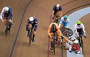 Glasgow, Scotland, Tuesday, 7th  August 2018, European Championships, Track Cycling, Sir Chris Hoy Velodrome,  [R] Hungary's Sandor SZALONTAY,  goes down, with,  [L]. Azerbaijan's Sergii OMELCHENKO, crashing in to him during the Heat 2 Keirin,  © Peter SPURRIER