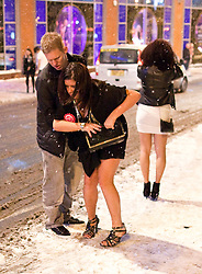 "© under license to London News Pictures. 18/12/2010 as snow blizzards hit - and despite  sub-zero temparatures - revellers carry on through ""Mad Friday"" night"