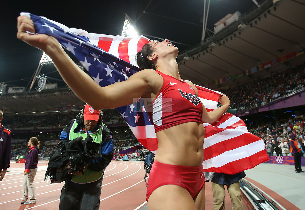 Jennifer Shur of the USA celebrates after winning the gold medal in pole vault during the track and field at the Olympic Stadium during day 10 of the London Olympic Games in London, England, United Kingdom on August 3, 2012..(Jed Jacobsohn/for The New York Times)..