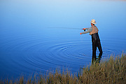 Fly fishing at Fish Lake on Steens Mountain, southeast Oregon.