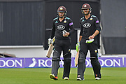 Ben Foakes and Gareth Batty complete Surrey's innings during the Royal London 1 Day Cup match between Surrey County Cricket Club and Kent County Cricket Club at the Kia Oval, Kennington, United Kingdom on 12 May 2017. Photo by Jon Bromley.