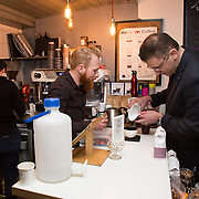 13.03.2017<br /> Canteen, Mallow street hosted The Steam of a Perfect Coffee an investiaftion into STEAM (Science, Technology, Engineering, Art and Mathematics) of the perfect cup of Coffee. <br /> Pictured at the event were, Dalton Greene, Canteen Barista and Dr. Christopher Hendon, MIT.<br /> Picture: Alan Place