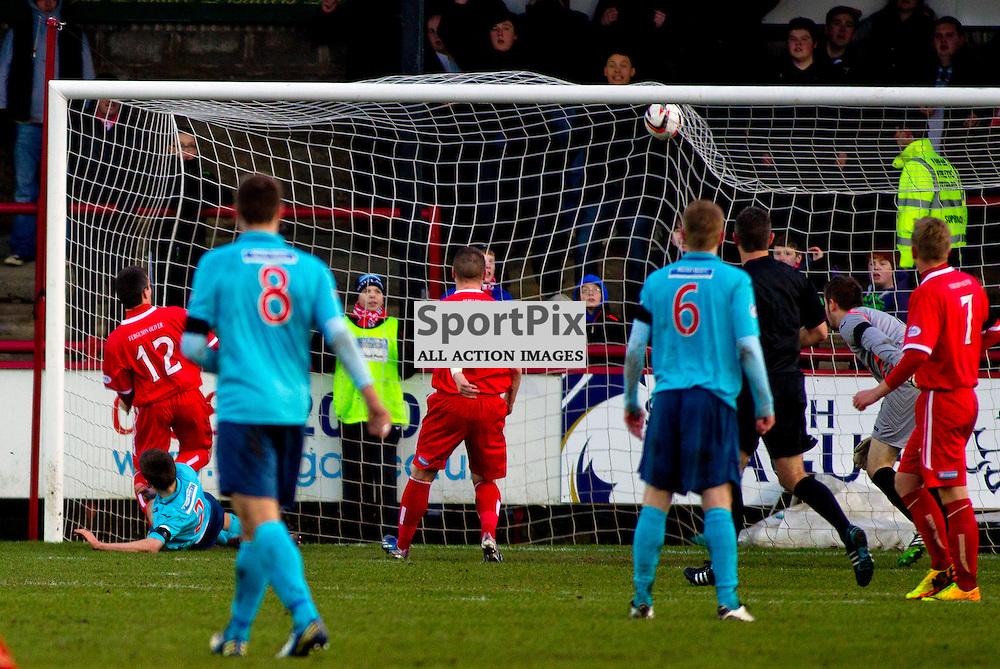 Brechin City v Dunfermline Athletic SPFL league one Glebe Park 25 January 2014<br /> <br /> Brechin second goal<br /> <br /> CRAIG BROWN   sportPix.org.uk