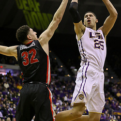 Jan 26, 2016; Baton Rouge, LA, USA; LSU Tigers forward Ben Simmons (25) shoots over Georgia Bulldogs forward Mike Edwards (32) during the second half of a game at the Pete Maravich Assembly Center. LSU defeated Georgia 89-85. Mandatory Credit: Derick E. Hingle-USA TODAY Sports