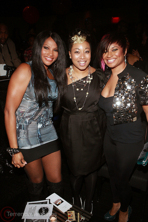 """l to r: Sandra """"Pep"""" Denton, Demetria Lucas, and Kali """" Kittie """" Troy at the Celebration for the Finale episode of the VH1 hit reality show ' Let's talk about Pep held at the Comix Club on March 1, 2010 in New York City."""