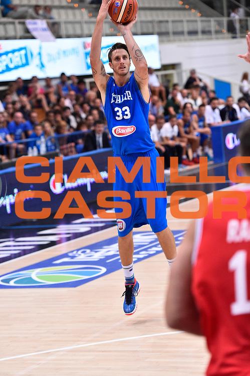 DESCRIZIONE : Trento Nazionale Italia Uomini Trentino Basket Cup Italia Austria Italy Austria <br /> GIOCATORE : Achille Polonara<br /> CATEGORIA : Tiro Tre Punti <br /> SQUADRA : Italia Italy<br /> EVENTO : Trentino Basket Cup<br /> GARA : Italia Austria Italy Austria<br /> DATA : 31/07/2015<br /> SPORT : Pallacanestro<br /> AUTORE : Agenzia Ciamillo-Castoria/GiulioCiamillo<br /> Galleria : FIP Nazionali 2015<br /> Fotonotizia : Trento Nazionale Italia Uomini Trentino Basket Cup Italia Austria Italy Austria