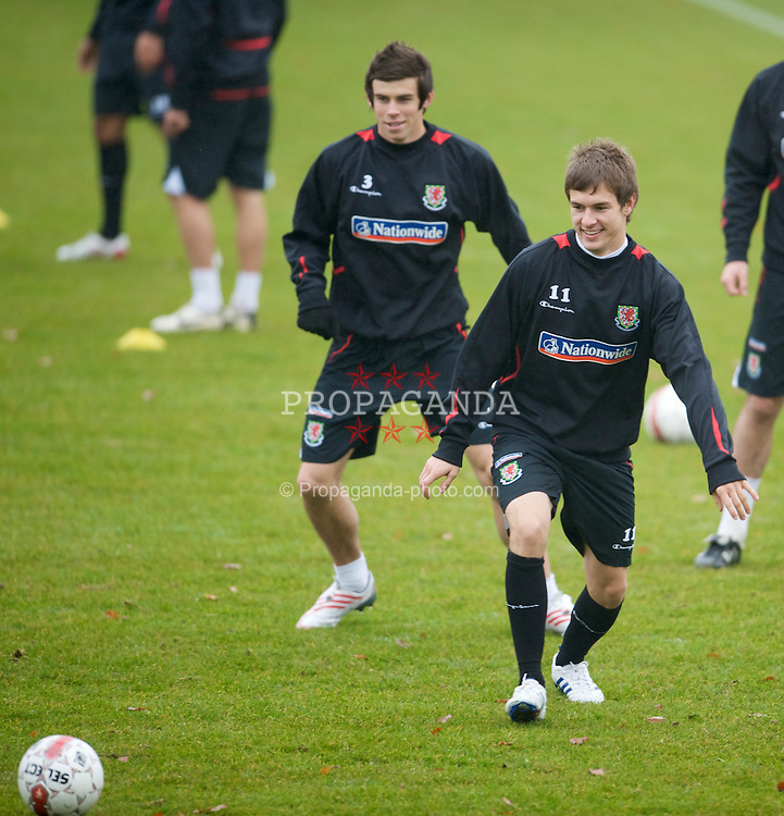 CARDIFF, WALES - Monday, November 17, 2009: Wales' Aaron Ramsey and Gareth Bale during a training session at the Vale of Glamorgan Hotel ahead of the International friendly match against Denmark. (Pic by David Rawcliffe/Propaganda)