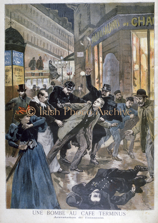 Anarchist bomb explosion in a Paris cafe:  Police arresting the bomber who has also shot  a policeman while trying to escape. From 'Le Petit Journal', Paris, 26 February 1894. France, Terrorist, Outrage