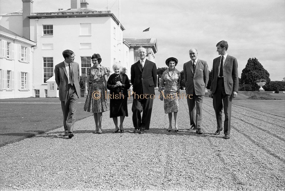 22/08/1963<br /> 08/22/1963<br /> 22 August 1963<br /> Mr Frank Aiken and family with President de Valera at &Aacute;ras an Uachtar&aacute;in. Image shows:Frank Aiken Jr.; Aedamar Aiken; Sile de Valera; President Eamon de Valera; Maud Aiken; Frank Aiken and Lochlann Aiken.