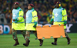 First aid during the 2010 FIFA World Cup South Africa Group G Second Round match between Brazil and République de Côte d'Ivoire on June 20, 2010 at Soccer City Stadium in Soweto, suburban Johannesburg, South Africa. (Photo by Vid Ponikvar / Sportida)