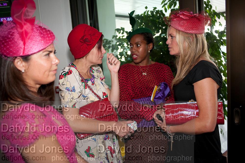 Daniella Issa Helayel; PEARL LOWE;; SUSAN BENDER; TINA HOBLEY , Glorious Goodwood. Ladies Day. 28 July 2011. <br /> <br />  , -DO NOT ARCHIVE-© Copyright Photograph by Dafydd Jones. 248 Clapham Rd. London SW9 0PZ. Tel 0207 820 0771. www.dafjones.com.