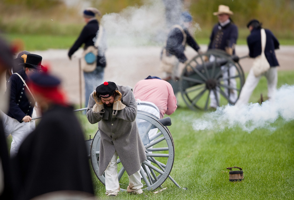 London, ONT.; October 1, 2011--  A cannon is fired during a War of 1812 re-enactment at Fanshawe Pioneer Village in London, Ontario, October 1, 2011.<br /> <br /> (GEOFF ROBINS/ Postmedia News)