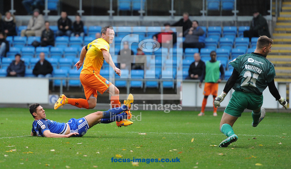 Garry Thompson of Wycombe Wanderers scores to make it 1-0 during the FA Cup match at Shay Stadium, Halifax<br /> Picture by Richard Land/Focus Images Ltd +44 7713 507003<br /> 08/11/2015
