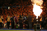 Rey Lee-Lo of Cardiff Blues &copy; enters the field of play ahead of k/o. Guinness Pro12 rugby match, Cardiff Blues v Scarlets at the BT Cardiff Arms Park in Cardiff, South Wales on Friday 28th October 2016.<br /> pic by Andrew Orchard, Andrew Orchard sports photography.