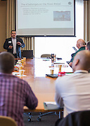 Jacob Hiler, an assistant professor in marketing for the College of Business, leads a breakout session during the College of Business Center for Leadership Event on April 23, 2016.