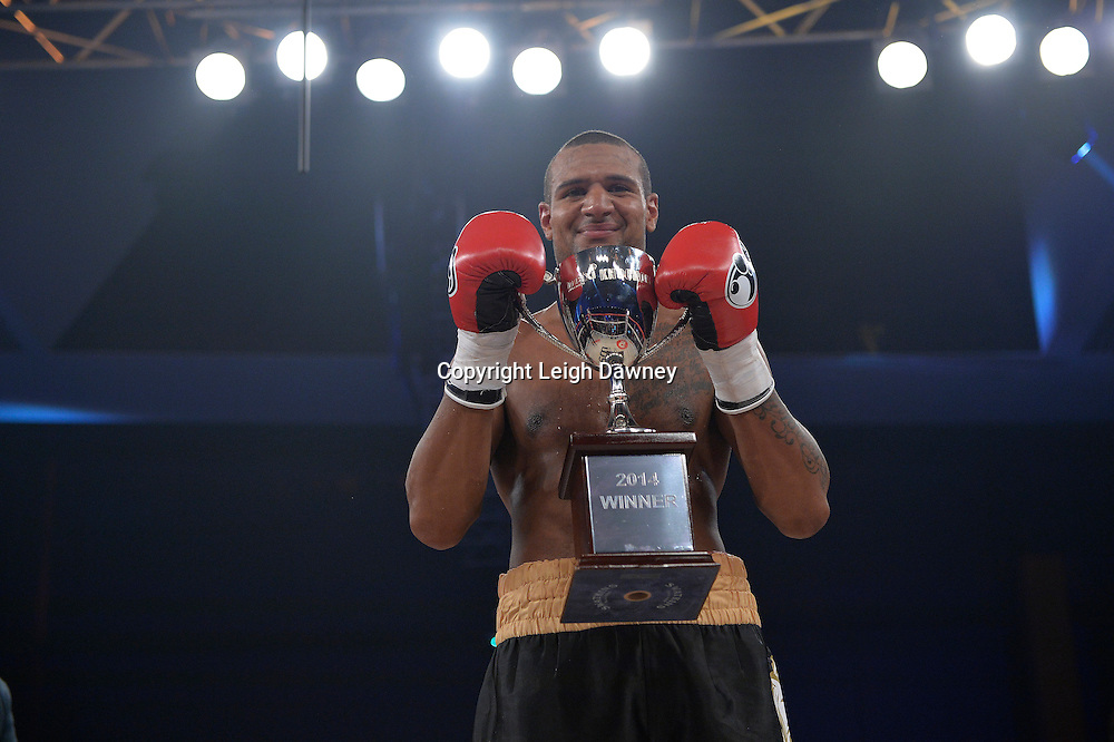 Bob Ajisafe defeats Matty Clarkson for the Maxi Nutrition Knockout at Glow, Bluewater, Kent on the 8th November 2014. Promoter: Hennessy Sports. © Leigh Dawney Photography 2014.