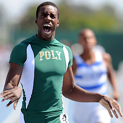 Poly's Shaquille Howard reacts after winning the 400 meter race during the CIF-SS track and field championships at Cerritos College in Norwalk, Calif., on Saturday, May 21, 2011. (SGVN Staff Photos Keith Birmingham/SPORTS)