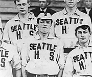 Players on the 1907 Seattle High School touring baseball team. (The Seattle Times Archives)