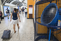 © Licensed to London News Pictures. 20/06/2017. London, UK. Large industrial fans running in London Underground stations as temperatures soar in the capital. London is forecast to see the hottest heatwave for twenty years this week. Photo credit: Rob Pinney/LNP