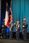 The Westbury High School Color Guard presents the colors during the Houston ISD State of the Schools luncheon at the Hilton of the Americas, February 26, 2014.