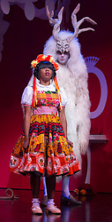 "© Licensed to London News Pictures. 09/12/2014. London, England. Helen Aluko as Belle and Vlach Ashton as Beast. Photocall for the Christmas panto ""Beauty & the Beast"" at the Theatre Royal Stratford East. The pantomime runs from 29 November 2014 to 17 January 2015. With Helen Aluko as Belle and Vlach Ashton as Beast. Photo credit: Bettina Strenske/LNP"