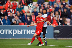 MOSCOW, RUSSIA - Tuesday, September 26, 2017: Liverpool's Rhian Brewster and Spartak Moscow's Artem Voropaev during the UEFA Youth League Group E match between Liverpool and Spartak Moscow FC at the Spartak Academy. (Pic by David Rawcliffe/Propaganda)