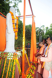 June 3, 2017 - Allahabad, Uttar Pradesh, India - Chief minister Aditya Nath Yogi along with Deputy chief minister Keshaw Prasad Maurya and other BJP leaders uncover Shahid Chandra Shekhar Azad statue at Circuit House in Allahabad. (Credit Image: © Prabhat Kumar Verma via ZUMA Wire)