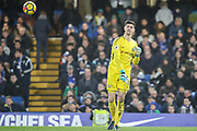 Thibaut Courtois (goalkeeper) of Chelsea during the Premier League match between Chelsea and Stoke City at Stamford Bridge, London, England on 30 December 2017. Photo by Toyin Oshodi.