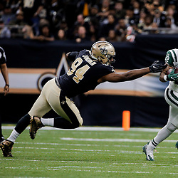 Dec 17, 2017; New Orleans, LA, USA; New York Jets running back Matt Forte (22) escapes a tackle by New Orleans Saints defensive end Cameron Jordan (94) during the second half at the Mercedes-Benz Superdome. The Saints defeated the Jets 31-19. Mandatory Credit: Derick E. Hingle-USA TODAY Sports