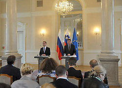 27.07.2015, Ljubljana, SLO, Staatsbesuch von Russlands Ministerpräsident Dmitri Medwedew in Slovenien, geminsame Pressekonferenz, im Bild v.l. Russlands Ministerpräsidenten Dmitri Medwedew und Ministerpräsident der Republik Slowenien Miro Cerar // during the vistit of Russian Prime Minister Medvedev in Slovenia. Trade sanctions against Russia introduced European Union affected the economic exchange of Slovenia and Russia, and their elimination would be in everyone's interest, said at a press conference in Ljubljana after exchanging views with Slovenian Prime Minister Miro Cerar and Russian Prime Minister Dmitry Medvedev. Ljubljana, Slovenia on 2015/07/27. EXPA Pictures © 2015, PhotoCredit: EXPA/ Pixsell/ Ziga Zivulovic<br /> <br /> *****ATTENTION - for AUT, SLO, SUI, SWE, ITA, FRA only*****