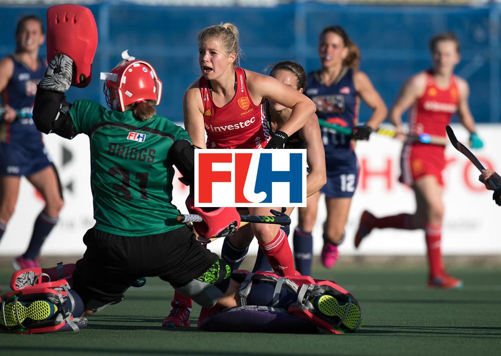 AUCKLAND - Sentinel Hockey World League final women<br /> Match id: 10304<br /> 15 USA v ENG (QF)<br /> Foto: Sophie Bray scores 0-2.<br /> WORLDSPORTPICS COPYRIGHT FRANK UIJLENBROEK