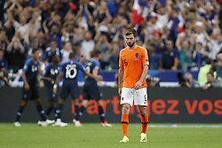 (L-R) Raphael Varane of France, Kylian Mbappe of France, Olivier Giroud of France, Davy Propper of Holland during the UEFA Nations League A group 1 qualifying match between France and The Netherlands on September 09, 2018 at Stade de France in Saint Denis,  France