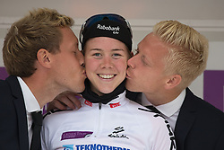 Thalita de Jong (NED) of Rabo-Liv Cycling Team retains the best young rider's white jersey after the 97,1 km second stage of the 2016 Ladies' Tour of Norway women's road cycling race on August 13, 2016 between Mysen and Sarpsborg, Norway. (Photo by Balint Hamvas/Velofocus)