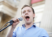 Owen Jones  at the Greece Solidarity Campaign Rally in Trafalgar Square London, Great Britain 29th June 2015 <br /> <br /> Greece Solidarity Campaign Rally<br /> <br /> <br /> Photograph by Elliott Franks <br /> Image licensed to Elliott Franks Photography Services